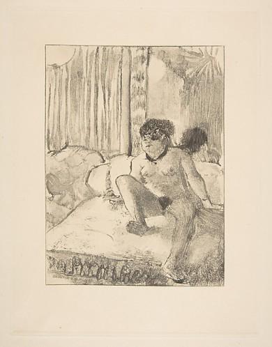 """אדגר דגא, """"מנוחה על המיטה"""", בסביבות 1878-9. העתק נאמן למקור של מונוטייפ,  The Metropolitan Museum of Art, New York"""