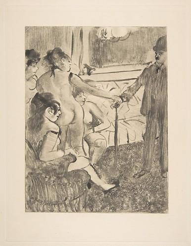 """אדגר דגא, """"הלקוח הסרבן"""", 1876-77, מונוטייפ בדיו שחורה על קלף,  אוסף פרטי, אוטאווה"""