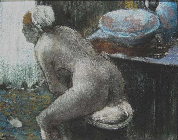 """אדגר דגא, """"רוחצת"""", 1880-1885. צבעי פסטל על מונוטייפ,  National Gallery of Australia, Canberra"""
