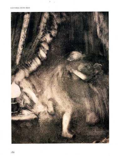 """אדגר דגא, """"כניסה למיטה"""", כנראה 1885. מונוטייפ,  via OCA Printmaking 1"""