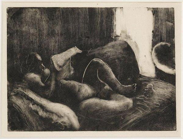 """אדגר דגא, """"טואלט"""" (קריאה אחרי האמבטיה), מונוטייפ, בין השנים 1877-1883.  via Dickinson"""