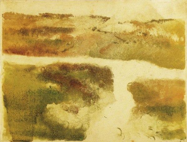 """אדגר דגא, """"נוף בהרים"""", 1890. מונוטייפ,  Los Angeles County Museum of Art"""