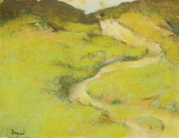 "אדגר דגא, ""גדות נהר"", 1890. פסטל על מונוטייפ,  Yale University Art Gallery, New Haven, Connecticut. Via PubHist"