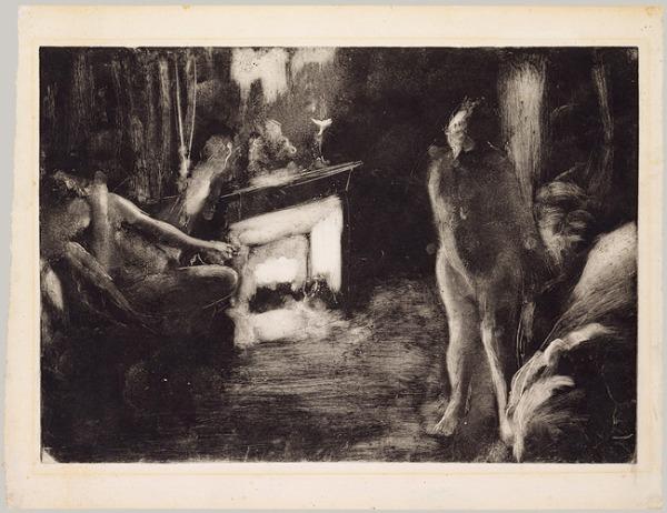 """אדגר דגא, """"האח"""", בסביבות 1876-77. מונוטייפ בדיו שחורה על נייר,  The Metropolitan Museum of Art, New York"""