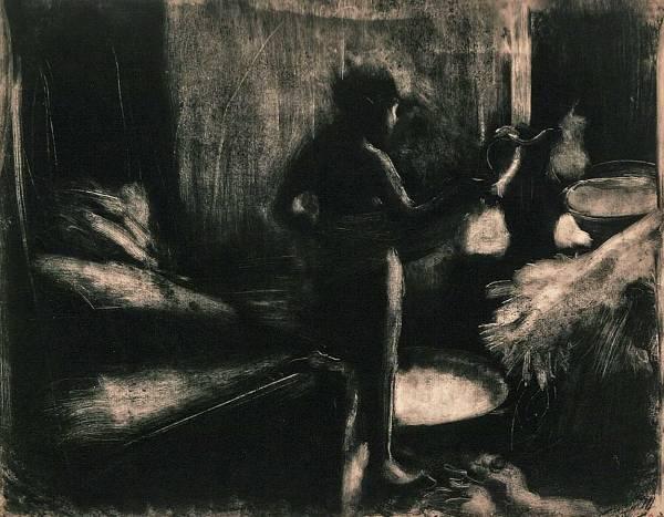"""אדגר דגא, """"הגיגית"""", בסביבות 1876-77. מונוטייפ,  Bibliothèque de l'Institut national d'histoire de l'art, Paris"""