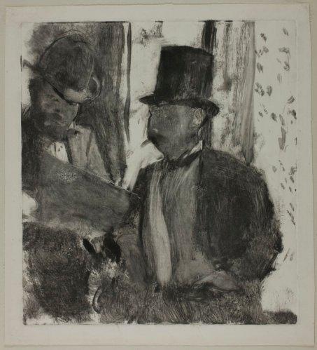 """אדגר דגא, """"שני מומחים לאמנות"""", סביב 1880. מונוטייפ בדיו אפורה ושחורה על ניר לבן שהוצמד לקרטון,  The Art Institute of Chicago"""