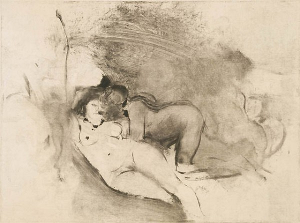 """אדגר דגא, """"שתי נשים"""", בין השנים 1876-77. מונוטייפ על נייר שטוף צבע בהיר,  Museum of Fine Arts, Boston"""