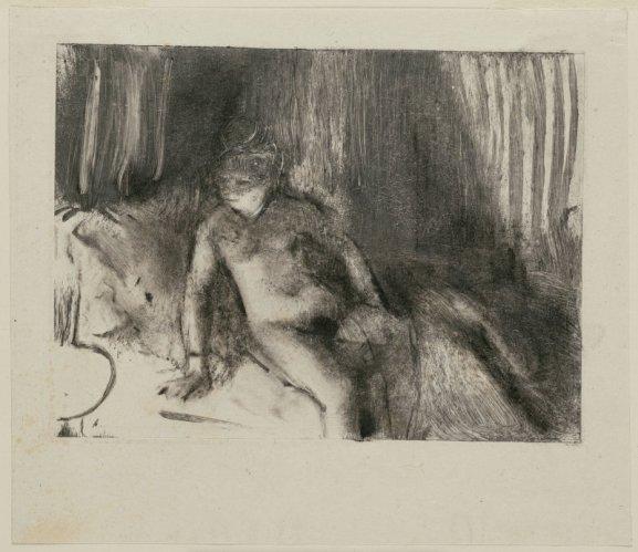 """אדגר דגא, """"המתנה"""", בסביבות 1879. מונוטייפ בדיו חומה-שחרחרה על נייר אפרפר-שנהב,  The Art Institute of Chicago"""