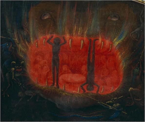 מיוחס ל-Simon Marmion, פלמי, ספר חזיונות האביר טונדאל (Visio Tnugdali): לועו של אכרון (לוע הגיהינום), 1470. צבעי טמפרה, עלה זהב, צבע זהב, על מגילת קלף,  The Getty Museum, Los Angeles