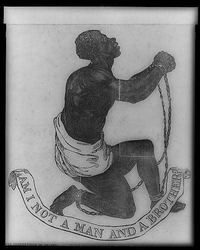 """""""האם אדם ואח אינני?"""" – איור לשירו של John G. Whittier, """"בן ארצנו בכבלים"""", 1837. הדפס תגליף עץ על ניר ארוג,  Library of Congress מקור האיור בחותמת האגודה לחיסול העבדות באנגליה בשנות השמונים של המאה ה-18. הופיע על מדליונים שהפיק לחברה ג'וזאיה וג'ווד כבר ב-1787. סיסמת ההתרסה, """"האם אדם ואח אינני?"""", מרמזת לקין (בראשית ד', 9), """"השומר אחי אנוכי?"""""""