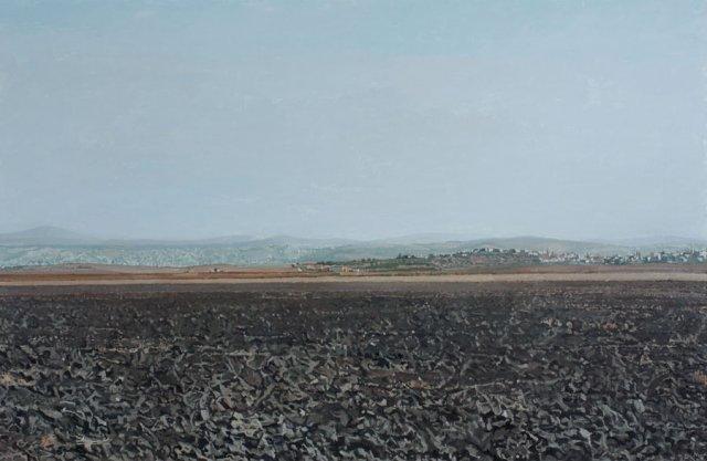 אלי שמיר, נוף העמק עם ג'נין באופק, 2007, שמן על בד, אוסף קובי רוגובין, תל אביב