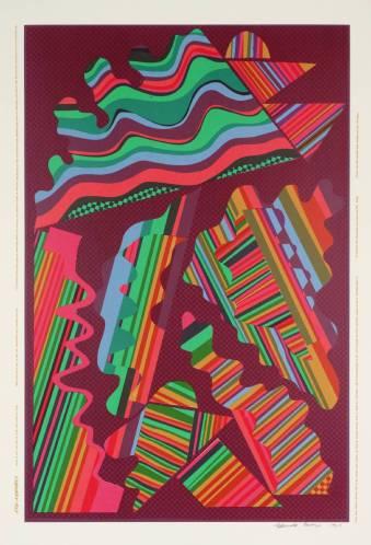 """Eduardo Paolozzi, """"צריך הוא, נאמר, להשליך את הסולם לאחר שעלה בו"""", 1965. הדפס רשת על נייר,  Tate Britain, London עבודה זו, שכותרתה לקוחה מסעיף 6.54 (לפני האחרון) ב""""מאמר לוגי-פילוסופי"""" (הטרקטטוס) של לודוויג ויטגנשטיין, היא אחת מסדרת הדפסים אותה הגדיר פאולוצי """"סוג של אוטוביוגרפיה משולבת"""" שלו ושל הפילוסוף: שניהם חיו בבריטניה כזרים בארצם, שניהם התעניינו בטכנולוגיה ושניהם אהבו קולנוע, אבל יותר מכך, פאולוצי הבין את חקר הדימויים שלו כמקבילה אמנותית לחקר הפילוסופי של הלשון ע""""י ויטגנשטיין."""