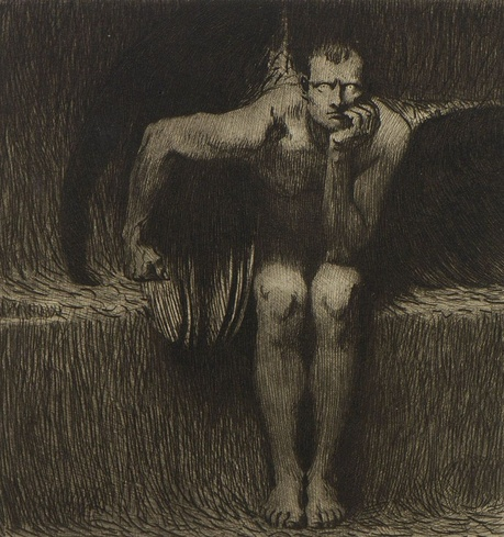 Franz von Stuck, לוציפר, 1889. תחריט,  Daulton Collection