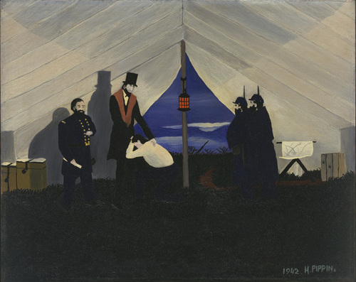 Horace Pippin, אייבּ לינקולן, המשחרר הגדול, 1942. שמן על בד,  Museum of Modern Art, New York