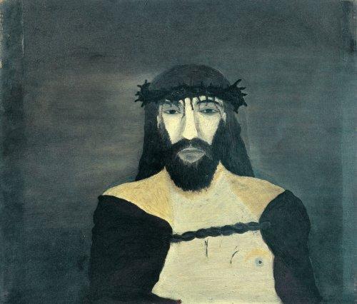 Horace Pippin, ישוע עם נזר הקוצים לראשו, 1938. שמן על בד,  Howard University Gallery of Art