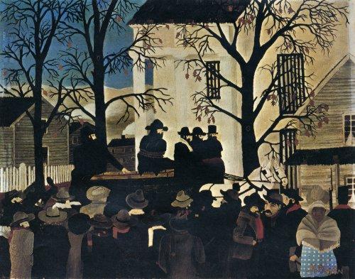 Horace Pippin, [מתנגד העבדות] ג'ון בראון מובל אל הגרדום, 1942. שמן על בד,  Pennsylvania Academy of the Fine Arts
