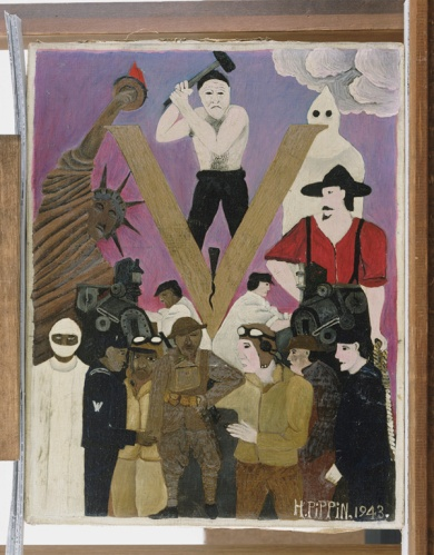 Horace Pippin, מר דעות קדומות [מפצל ומקעקע את אמריקה], 1943. שמן על בד,  Philadelphia Museum of Art