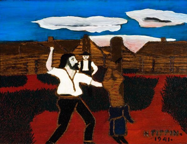 Horace Pippin, ההצלפה, 1941. שמן על עץ,  Reynolds House Museum of American Art, Winston-Salem, North Carolina