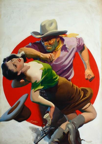 H. J. Ward, איור שער למגזין  Romantic Westernn, ספטמבר 1938. שמן על בד, אוסף פרטי,  via Grapefruit Moon Gallery