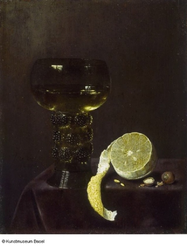 Jan Jansz van de Velde, טבע דומם עם כוס יין [שבלולים] ולימון חתוך, 1649. צבע שמן על לוח עץ,  Kunstmuseum Basel