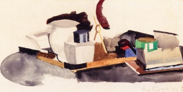 Roger De La Fresnaye, טבע דומם, 1913. דיו וצבעי מים על נייר, אוסף פרטי, via Athenaeum