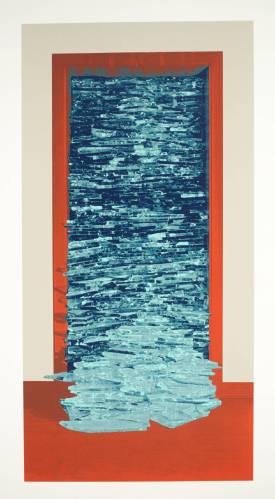 מנשה קדישמן, זכוכית שבורה (דלת שבורת זכוכית), 1979. הדפס רשת על נייר,  Tate Gallery, London