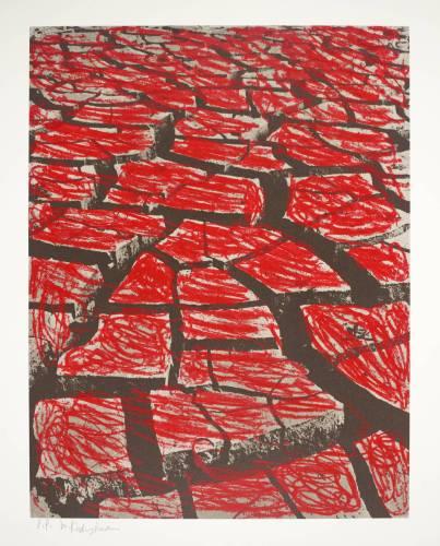 מנשה קדישמן, אדמה בקועה ב', 1979. הדפס רשת על נייר,  Tate Gallery, London