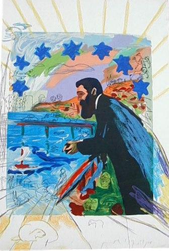 מנשה קדישמן, תיאודור הרצל משקיף על תל-אביב מן הגזוזטרה, 1988. הדפס רשת ופסטל על בד,  Michael Hittleman Gallery, Los Angeles
