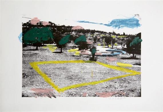 מנשה קדישמן, ללא כותרת, נוף וריבוע צהוב, 1979. ליתוגרפיה, אוסף פרטי,  via Mutual Art