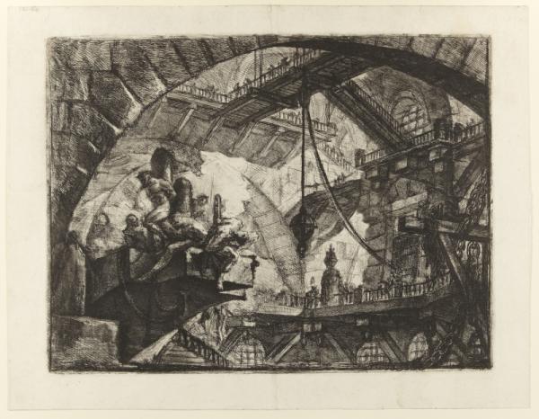 Giovanni Battista Piranesi, אסירים על המשטח התלוי, מתוך סדרת בתי הכלא הדמיוניים, 1761. תצריב,  Princeton University Art Museum, New Jersey