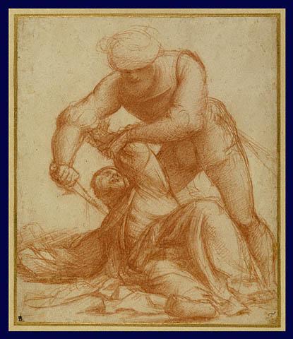 "Il Pordenone, מתווה הכנה ל""רצח סנט פטר המרטיר"", 1526-1528. גיר אדום,  The Getty Museum, Los Angeles"