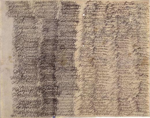 """Emma Hauck (1878-1920), ללא תאריך. גרפית על נייר, The Prinzhorn Collection, Die Heidelberger Universitäts-Psychiatrie pathologisiert Kunst אמה הוּק, נשואה ואם לשניים, אובחנה ב-1909בדמנציה פְּרֵקוֹקס (סכיזופרניה). ביום הולדתה השלושים אותה שנה היא אושפזה בבית החולים הפסיכיאטרי של היידלברג, גרמניה, לשם היתה מרותקת כל 11 השנים הבאות עד מותה. במשך כל השנים הללו כתבה לבעלה הנעדר מכתבים למאות, שגם אחד מהם לא נשלח אליו. המכתבים עשויים שכבות על גבי שכבות של שרבוטי דברים בלתי קריאים כמעט, החוזרים בדרך כלל על התחינה """"בוא"""" (Komm), """"אהובי בוא"""" (Herzensschatzi komm).   כיום, שמורים מכתביה של אמה הוק באוסף פרינצהורן לאמנות פסיכיאטרית מתקופת חילוף המאה הקודם. הקים את האוסף היסטוריון האמנות ורופא בית החולים הפסיכיאטרי של אוניברסיטת היידלברג, האנס פרינצהורן."""