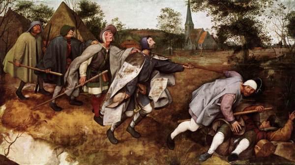 """פיטר ברויגל האב, """"עיוור מדריך את העיוורים"""", או """"משל העיוורים"""", 1568. דיסטמפר (טמפרה מעורב בדבק בהמות) על בד,  Museo di Capodimonte , נאפולי"""