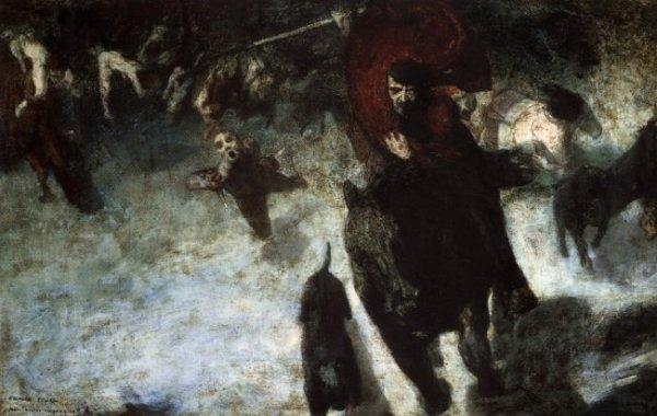 (1863–1928) Franz von Stuck, רדיפת אמוק (Wilde Jagd), 1889. שמן על לוח עץ,  Staedtische Galerie, Lenbachhaus, Germany