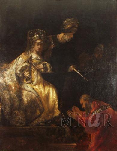 """""""המן מבקש על חייו"""" לרמברנדט בתצלום שאיננו נאמן למקור בכך שהוא מגלה את מה שהציור המקורי מכסה ומגלה לעין באיטיות."""