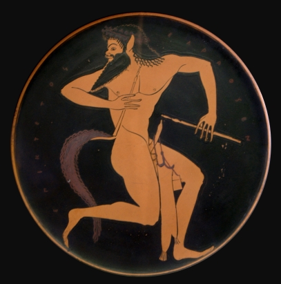 Epiktetos, Satyr with pipes and a pipe case hanging on his penis. Tondo of an Attic red-figure plate, 520–500 BC. Bibliothèque nationale de France, Paris