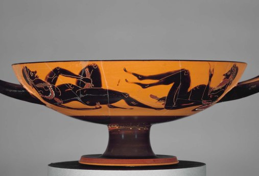 Kylix, Two reclining satyrs masturbating. 520 BC. Amasis painter, MFA, Boston