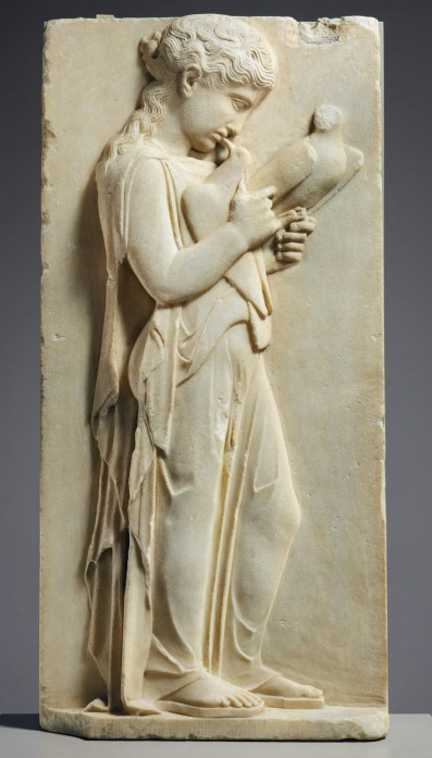 Marble grave stele of a little girl, ca. 450–440 B.C. Marble, Parian, New York, Metropolitan Museum of Art