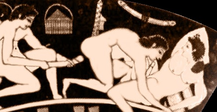 Red figure painting of lovemaking (detail), on kantharos (high handled cup), 520-510 BC, from Vulci, Italy. MFA, Boston