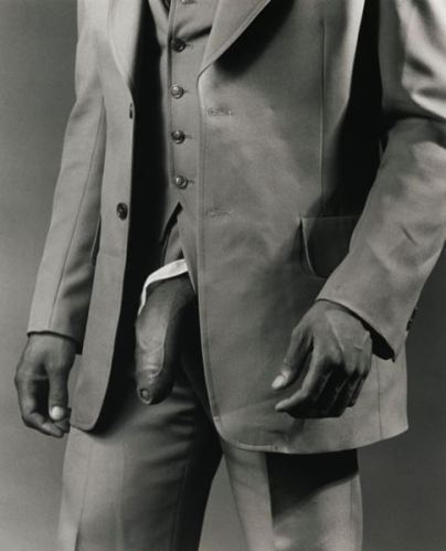 Robert Mapplethorpe, Man in Polyester Suit, 1980. Via ArtNet