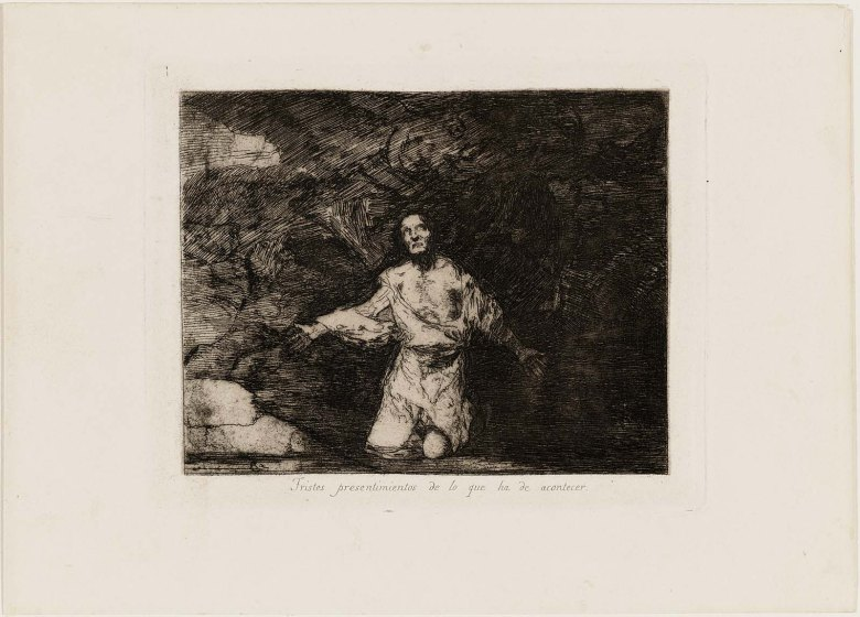 Sad Forebodings of What is to Happen) `Disasters of War` Plate 1, 1820–23. Etching and burnished aquatint, Museum of Fine Arts, Boston