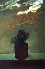 עסאם אבו שקרה, צבר, 1989. שמן על לוח, אוסף משפחת מרינסקי, תל אביב