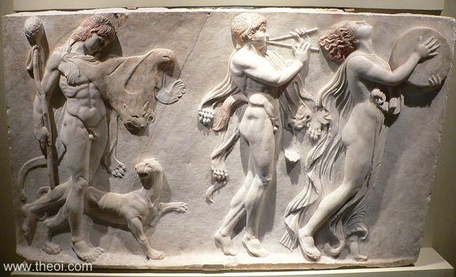 תהלוכה בככנלית עם סטיר ומנאדה עם טמבורין, תגליף שיש רומאי, 100 לספירה, בריטיש מוזאון, לונדון