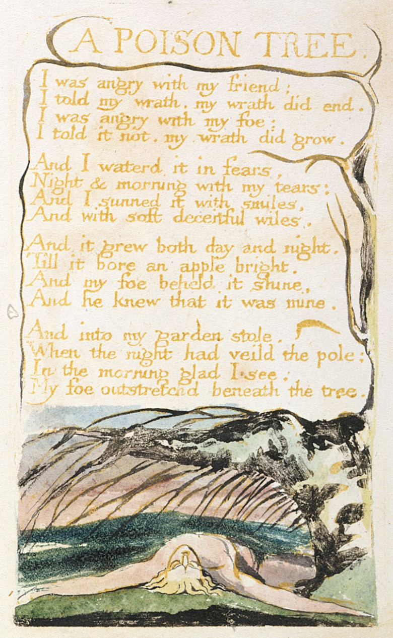 William Blake, A Poison Tree, Hand painted copy B of Songs of Innocence and of Experience, 1794, British Museum via Wikipedia