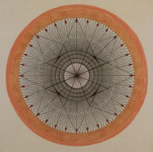 Emma Kunz, קומפוזיציה מס. 173, ללא תאריך. דיו ועפרון על נייר מודבק על קרטון, via ArtNet
