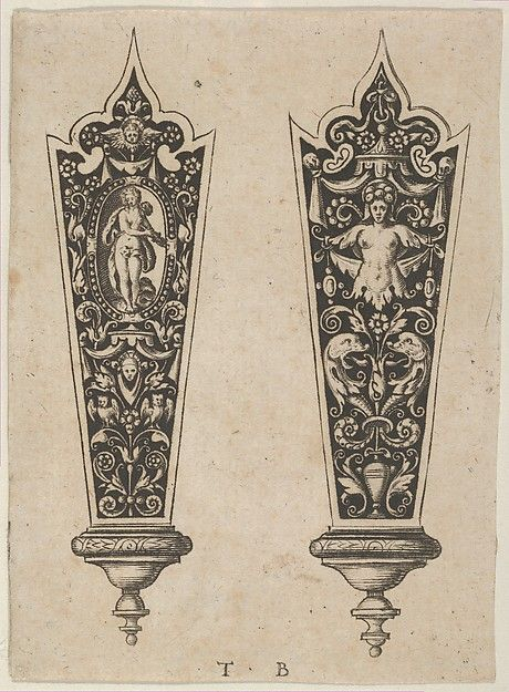 Theodor de Bry, Netherlandish, Design for Knife Handles with the Death of Lucretia and Grotesques, 1580–1600. Engraving and blackwork, Metropolitan Museum of Art, New York City