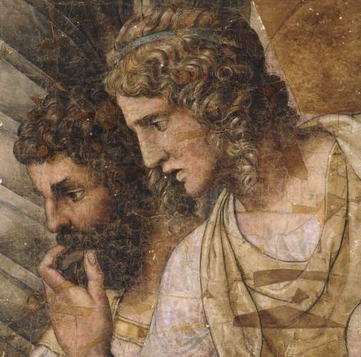 Giulio Romano, Two Men, Bust Length, Looking Down, a Cartoon for a Tapestry, private collection